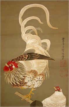 """Hen and Rooster with Grape Vine"" by Ito Jakuchu"
