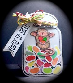 House Mouse Designs, House Mouse Friends Monday Challenge blog, Sweet, Candy, Jelly Beans, Easter, Jar, Sizzix Dies, Jar Shaped,  Card, designed by America Kuhn, 2016. www.cardsbyamerica.blogspot.com/