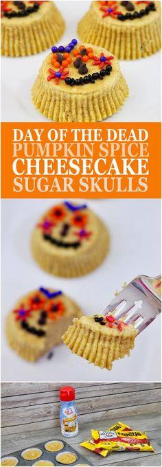 Day of the Dead Pumpkin Spice Cheesecake Sugar Skulls #OfrendasConNestle #NestleKitchen AD