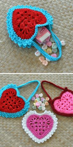These heart shaped treat bags are perfect for Valentine's Day! You could use them as party favor bags, or gifts for your child's classmates! #valentinesday #crochet #CrochetValentines