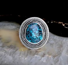 Hubei Turquoise Textured Shield Ring   Size 7-7.25 7 And 7, Turquoise, Texture, Rings, Black, Jewelry, Surface Finish, Jewlery, Black People