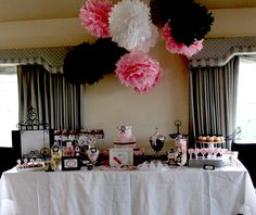 decorating ideas....tissue paper balls...use black white and hot pink.