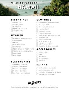 The Best Hawaii Packing List For Adventure Seekers The Mandagies Adventurous Ha.The Best Hawaii Packing List For Adventure Seekers The Mandagies Adventurous Hawaii Packing List Read this post to find out exactly what clothes to bring the right k Honeymoon Packing, Packing List For Vacation, Hawaii Honeymoon, Hawaii Travel, Hawaii Packing Lists, Travel Packing, Travel Checklist, Honeymoon Destinations, Travel Guide