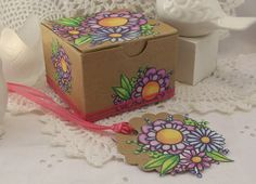 Favor Box Decoupaged with Purple Flowers and by UnderTheNumNumTree, $6.50