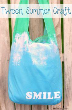 Tie Dye Tote Tween Summer Craft Idea