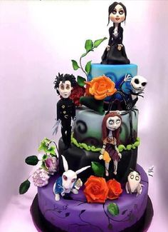 Nightmare Before Christmas and Beetlejuice Cake (Tim Burton). I would give credit where credit is certainly due, but I received this pic in an email and have no idea who made it! But this is extraordinary work, so I had to share!!
