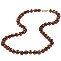 DaVonna 14k Gold Cultured Freshwater Brown Pearl Necklace