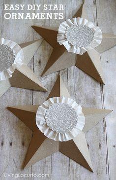 Easy DIY Christmas Tree Star Ornaments. @Amy Locurto {LivingLocurto.com}.com #christmas
