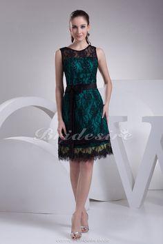 Bridesire - A-Linie U-Ausschnitt Kurz/Mini ärmellos Satin Spitzen Kleid [BD4178] - €91.91 : Bridesire