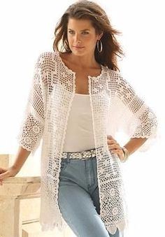 Plus Size Scalloped Border Crochet Cardigan cream size L … Love this Fashionable Scalloped Border Crochet Cardigan. Shop for Scallop-Trim Crochet Cardigan and more Plus Size Sweaters from fullbeauty. A beautifully handcrafted cardigan that's made for la Gilet Crochet, Crochet Coat, Crochet Jacket, Crochet Cardigan, Crochet Clothes, Sweater Cardigan, Plus Size Cardigans, Plus Size Tops, Cardigans For Women