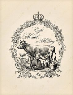 12 Days of Christmas Maids Milking Cow Image Transfer, Illustration, Image, Vintage Graphics, Art, Graphics Fairy, Clip Art, Vintage, Prints