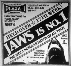 """""""Jaws was something of an accidental blockbuster. It should not be blamed for being a good movie. Jaws 2, Jaws Movie, Movie Prints, Great White Shark, Shark Week, Movie Photo, Classic Movies, Print Ads, Vintage Advertisements"""