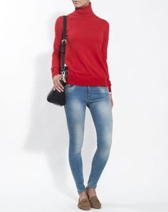 Woman pure cashmere basic rollneck sweater