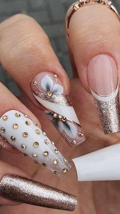 Rhinestone Nails, Bling Nails, Swag Nails, Bling Wedding Nails, Bling Nail Art, Art Nails, Nail Designs Bling, Acrylic Nail Designs, Nails Design