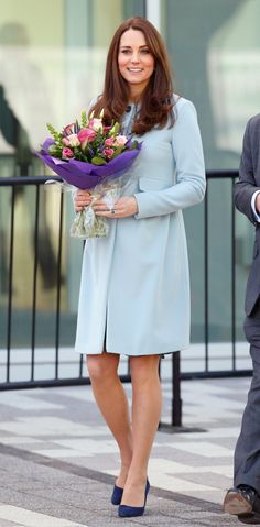 Pin for Later: The 1 Style Trick Kate Middleton's Been Hiding Up Her Sleeve Ground a Pastel Coat With Darker Suede Pumps
