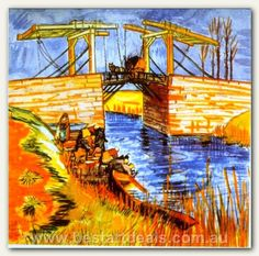 Langlois Bridge at Arles with Women Washing by Vincent van Gogh
