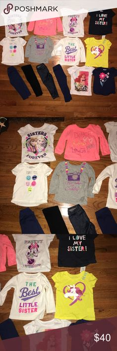 Infant girls bundle Infant girls bundle of 14 items. Bundle includes 10 tees 7 short sleeve and 3 long sleeve. It also includes 4 leggings. 2 children's place long sleeve tees are size 12-18 months. Everything else is size 18 months. All in good condition flaws are shown in last picture. Brands include carters, Oshkosh, children's place, Disney(target). Will not separate unless bundling with something else. Shirts & Tops Tees - Short Sleeve