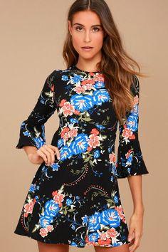 Welcome Back Black Floral Print Skater Dress d7584f539