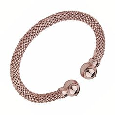 Rose Gold Plated Mesh Design with Polished Ball Sterling Silver Bangle Bracelet | GoldenMine.com