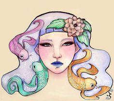 Ninfea - Watercolor + digital (c) Sara Siracusa #ninfea #flower #carp #watercolor #illustration #artwork #digital #painting #paint