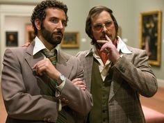 Bradley Cooper and Christian Bale in American Hustle - directed by David O. Russel who direct The Fighter and Silver Lining Playbook