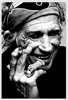 Cool B&W Photo by Keith Richards Lead Guitar of The Rolling Stones.