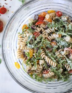 creamy goat cheese and arugula pasta salad I howsweeteats.com