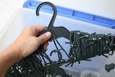 Wrap Christmas lights around a hanger to keep them from getting tangled.
