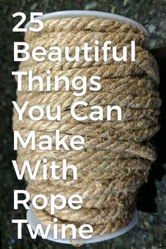 Beautiful Things You Can Make With Rope & Twine Love that rustic look but don't like the cost? Create your own rustic diy home decor on a budget.Love that rustic look but don't like the cost? Create your own rustic diy home decor on a budget. Twine Crafts, Rope Crafts, Diy And Crafts, Rustic Crafts, Crafts That Sell, Decor Crafts, Diy Gifts To Sell, Diy Rustic Decor, Kid Crafts