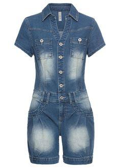 Farmer overál • kék kőmosott • bonprix áruház Jumpsuit Blue, Jeans Jumpsuit, Pants, Shops, Farmer, Jumpsuits, Women, Style, Fashion