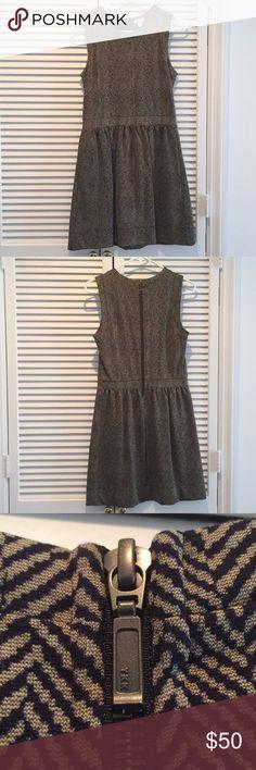 Jcrew Sleeveless Ponte Dress Jcrew, like new! Only worn once. Has pockets. Black and Tan herringbone pattern. J. Crew Factory Dresses Midi