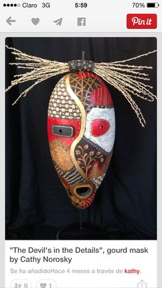Black Eagle creates these visionary masks as a contemporary statement of his warrior art. African Masks, African Art, Native American Masks, Tableau Pop Art, Ceramic Mask, Decorative Gourds, African Crafts, Black Eagle, Art Africain