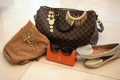 Ready to take on #saturday with this #brown and #gold combo. #shoplvkiki #lvk #purse #shoes #necklace #accessories