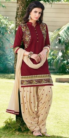 Appealing Maroon And Cream Cotton Patiala Suit.