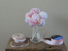 Pink/White Flowers  Pom Pom Flowers  Summer by BlueRidgeMercantile, $20.00
