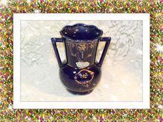 1950\'s Blue Hand Painted Ceramic Souvenir Vase Atlantic City. Starting at $15