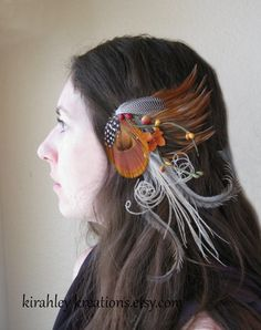 FALL FANCY  Unique Burnt Orange Peacock by KirahleyKreations