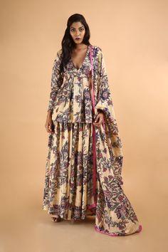 Saksham & Neharicka | Red Angrakha Kurta Set | INDIASPOPUP.COM Anarkali Gown, Silk Dupatta, Cotton Silk, Indian Wear, Types Of Sleeves, Hand Weaving, Kimono Top, Floral Prints, Gowns