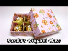Surala's Origami Class Origami - Gift Box with Divider (How to Make a Gift Box, packing, candy, Choclate, Valentine Day, 4 Compartment Gift Box, wrapping a c...