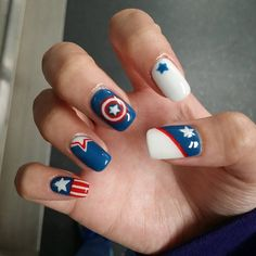 Captain America - 4th of July Nail Art Ideas - Chic Designs for July Fourth Nails
