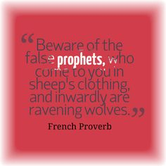 Beware of the false prophets who come to you in sheep's clothing, and inwardly are ravening wolves. Raven And Wolf, Book Of Proverbs, Wolves, Sheep, Faith, French, Books, Clothing, Outfits