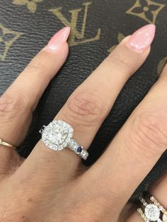 A little bit of blue :)...... #bluesapphires #engagementrings # diamonds #moissanites
