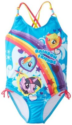 9d16220041c88 Amazon.com: Hasbro Little Girls' My Little Pony Rainbow Friends One Piece,  Blue, 5/6: Clothing. Toddler Girl Bathing SuitGirls ...