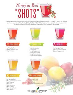 Healthy shots using essential oils and the superpower juice NingXia Red