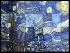"""Collaborative art Grade/Middle School Masterpiece Mosaic of """"Starry Night"""" by Vincent Van Gogh Collaborative Art Projects For Kids, Class Art Projects, Classroom Art Projects, Art Classroom, Group Projects, Family Art Projects, Welding Projects, Club D'art, School Auction Projects"""