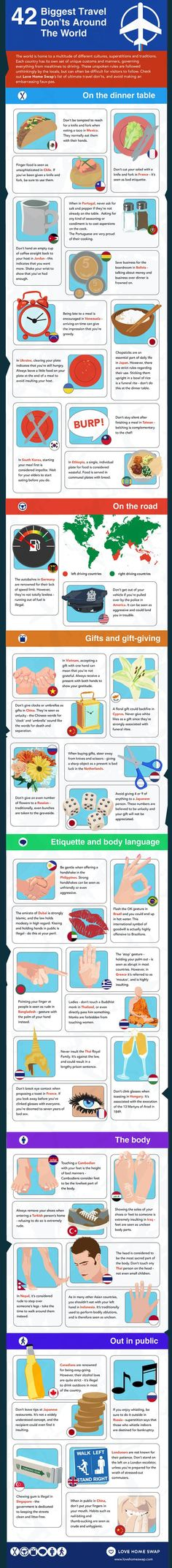 42 Biggest Travel Don'ts Around The World travel vacation tips infographic infographics vacations good to know abroad Travel Info, Travel Bugs, Travel Advice, Time Travel, Places To Travel, Travel Guide, Travel Destinations, Places To Visit, Travel Hacks