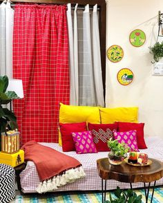 Indian Bedroom Decor, Room Decor Bedroom, House Rooms, Living Rooms, Indian Curtains, India Home Decor, Indian Home Interior, Indie Room, Floor Seating
