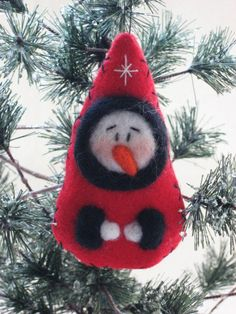 Snowman Ornament - Christmas Ornament - Christmas Tree Decor - Wool Felt Snowman. $14.00, via Etsy.