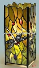 """Art nouveau-esque jewel dragonfly """"tiffany"""" stained leaded glass table lamp lantern"""