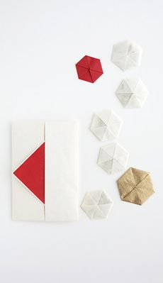 "a letter envelope with ""fumikou,"" small folded packets of fragrant incense.(Courtesy of Origata Design Institute) 